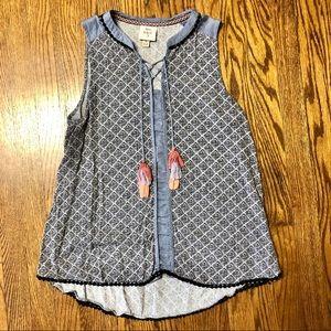 Knox Rose sleeveless flowy boho blouse size M